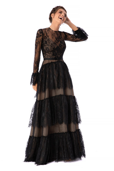 Ana Radu black dress luxurious long cloche long sleeved with bell sleeve laced detachable cord