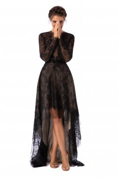 Black dress luxurious asymmetrical cloche laced with rounded cleavage long sleeved with laced sleeves