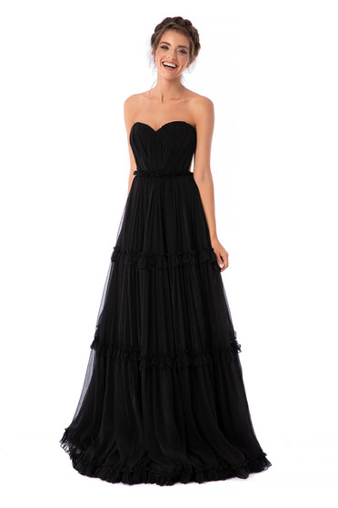 Ana Radu luxurious long cloche corset black dress with ruffle details and naked shoulders