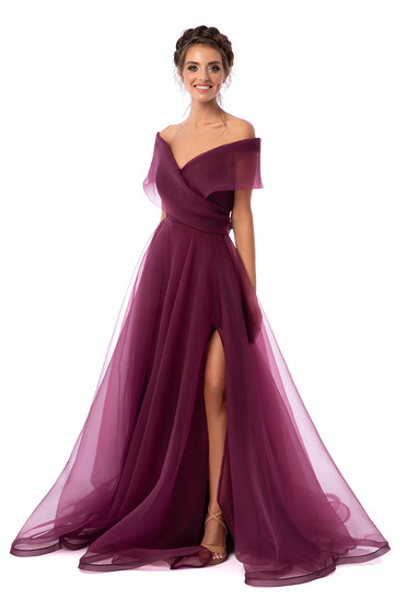 Ana Radu luxurious long cloche raspberry dress with naked shoulders and inside lining