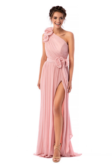 Ana Radu lightpink dress luxurious long cloche from veil fabric one shoulder with inside lining