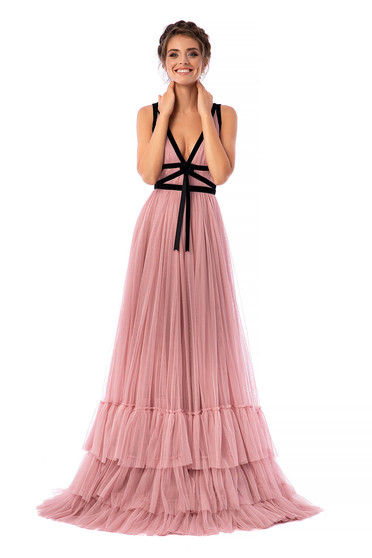 Ana Radu lightpink dress luxurious cloche from tulle long velvet insertions with v-neckline with deep cleavage sleeveless