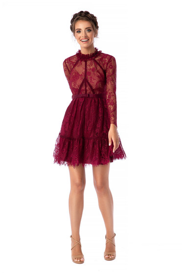 Ana Radu burgundy dress luxurious cloche short cut laced with turtle neck long sleeved detachable cord