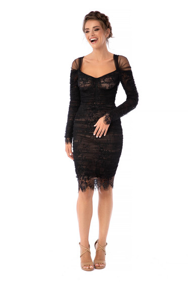Ana Radu luxurious short cut laced pencil black dress from tulle with long sleeves and naked shoulders