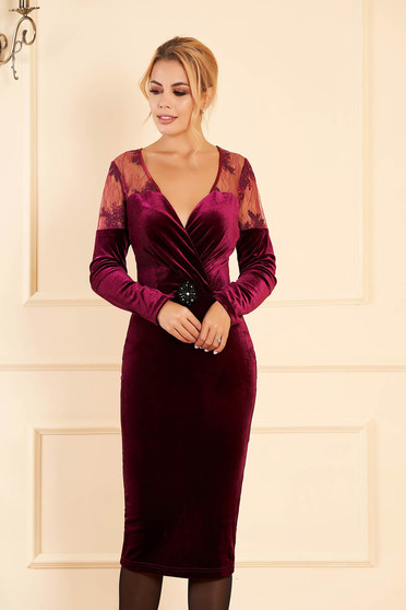 Occasional velvet pencil raspberry dress with a cleavage