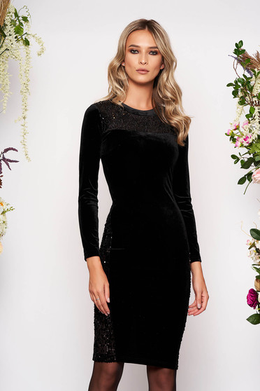 Black occasional midi pencil dress from velvet with sequin embellished details