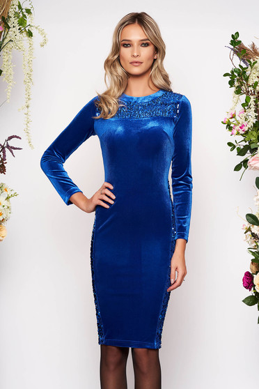 Blue occasional midi pencil dress from velvet with sequin embellished details