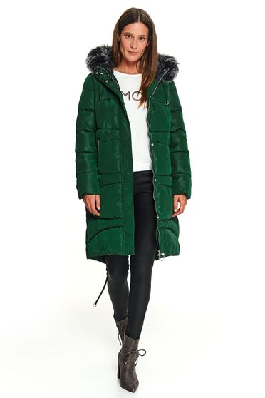 Darkgreen jacket casual midi the jacket has hood and pockets
