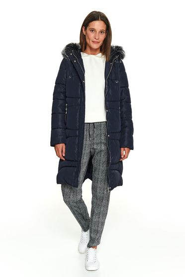 Darkblue jacket casual from slicker the jacket has hood and pockets