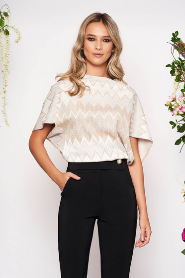 Silver women`s blouse elegant short cut flared neckline from elastic fabric with graphic details