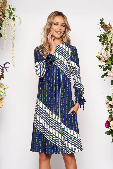 Darkblue dress midi daily flared airy fabric neckline with graphic details long sleeved