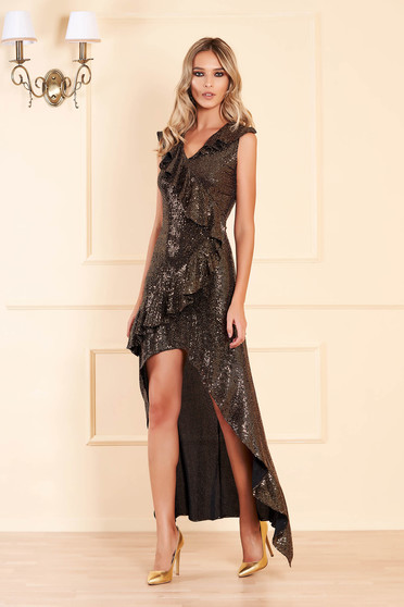 Gold dress occasional asymmetrical cloche with sequins with ruffle details with v-neckline sleeveless