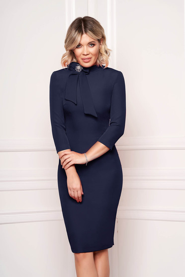 StarShinerS darkblue dress elegant office midi cloth slightly elastic fabric accessorized with breastpin