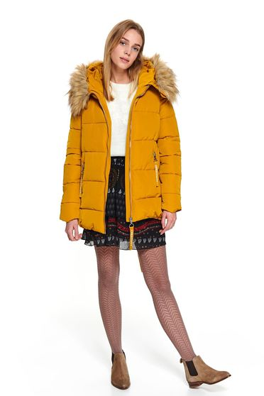 Yellow jacket short cut casual from slicker with faux fur accessory the jacket has hood and pockets