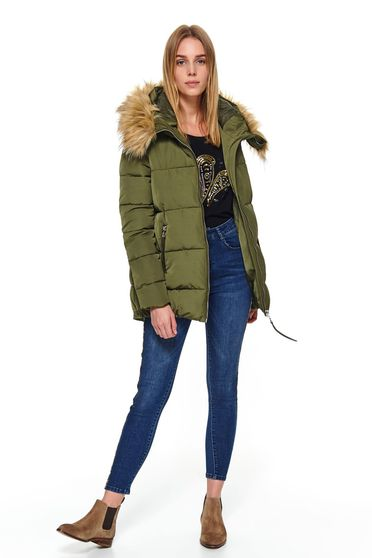 Green jacket casual short cut from slicker the jacket has hood and pockets with faux fur accessory