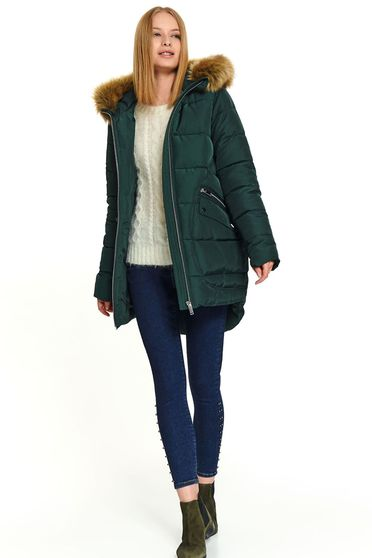 Darkgreen jacket casual midi from slicker the jacket has hood and pockets with faux fur accessory
