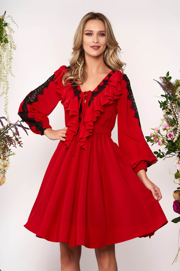 Red elegant cloche dress with v-neckline voile fabric with lace details