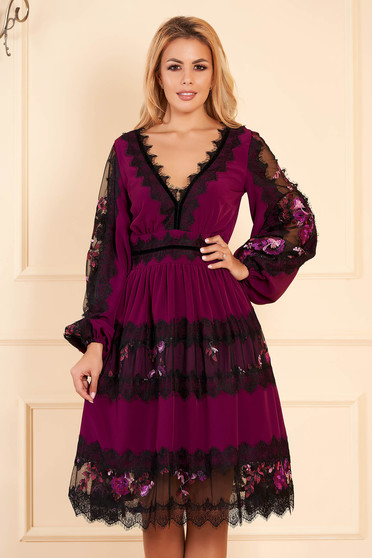 Purple elegant flaring cut dress voile fabric with lace details