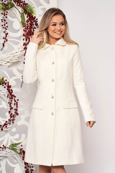 White office coat from thick fabric with inside lining arched cut