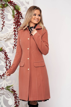 Bricky office coat from thick fabric with inside lining arched cut