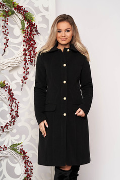 Black office coat from thick fabric with inside lining arched cut
