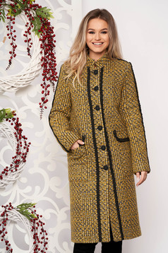 Mustard casual cloth coat straight cut from thick fabric handmade applications