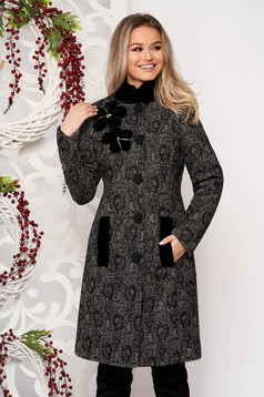 Black elegant cloth coat from thick fabric tented fur collar with floral details