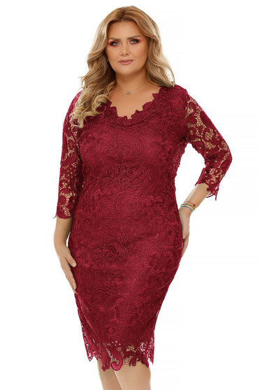 Raspberry occasional pencil dress laced with inside lining midi with 3/4 sleeves with v-neckline