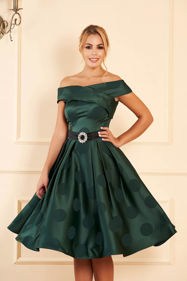 Green dress occasional midi cloche from satin fabric texture naked shoulders dots print
