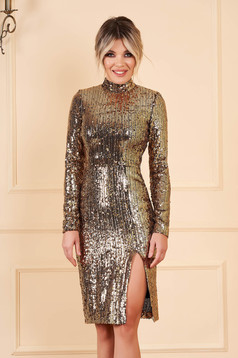 StarShinerS gold dress occasional short cut pencil with sequins long sleeved with turtle neck