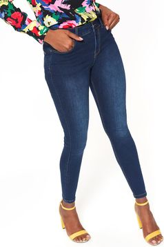 Darkblue skinny jeans medium waist slightly elastic cotton
