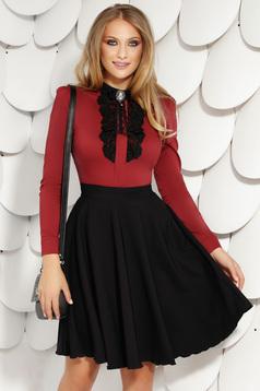 Black skirt elegant office short cut cloche with pockets back zipper fastening