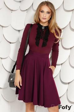 Raspberry skirt elegant office short cut cloche with pockets back zipper fastening