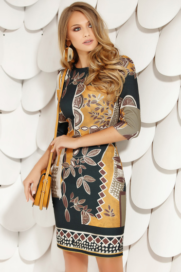 Mustard dress elegant pencil with rounded cleavage with 3/4 sleeves with graphic details