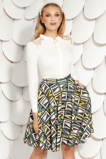 Ivory women`s shirt office short cut tented with buttons cotton accessorized with breastpin