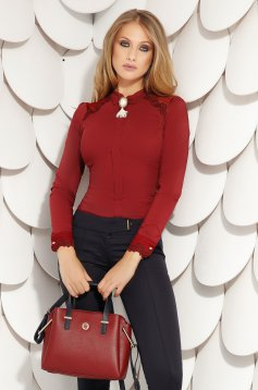 Burgundy women`s shirt office short cut tented with buttons cotton accessorized with breastpin