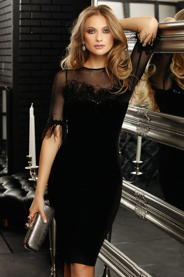 Black dress occasional short cut pencil with 3/4 sleeves transparent sleeves feather details velvet