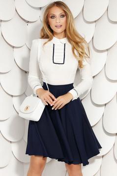 Darkblue skirt elegant office short cut cloche with pockets back zipper fastening