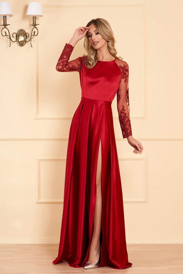 Burgundy occasional dress flaring cut from satin fabric texture with laced sleeves