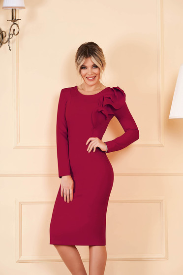 Dress StarShinerS raspberry with tented cut slightly elastic fabric with ruffled sleeves