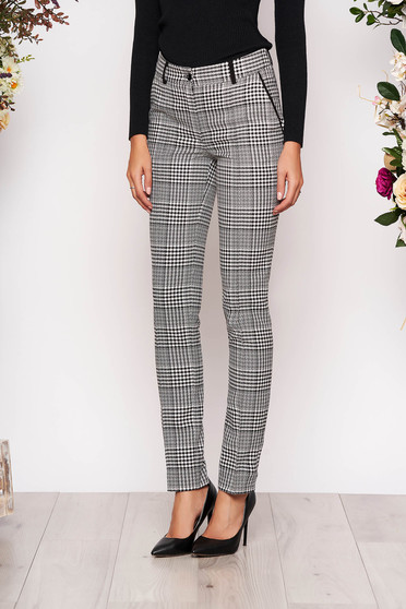 Grey trousers elegant office straight with front pockets long cloth