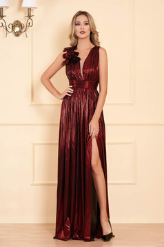 Burgundy occasional cloche dress from shiny fabric with deep cleavage sleeveless long