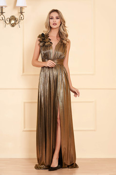 Gold occasional cloche dress from shiny fabric with deep cleavage sleeveless long