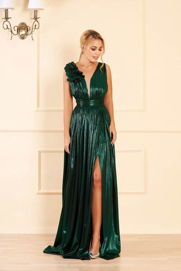 Green occasional cloche dress from shiny fabric with deep cleavage sleeveless long