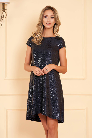 StarShinerS darkblue occasional asymmetrical flared dress with sequins with inside lining