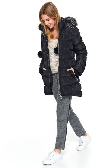 Black jacket casual from slicker the jacket has hood and pockets with faux fur accessory with tassels