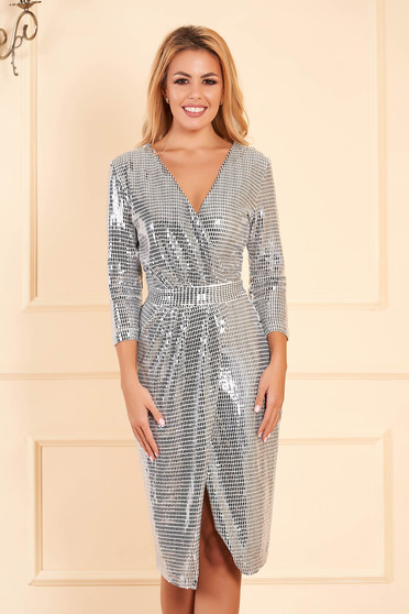 StarShinerS silver occasional dress with tented cut with v-neckline