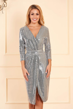 Dress StarShinerS silver occasional with sequins with tented cut wrap around midi with v-neckline