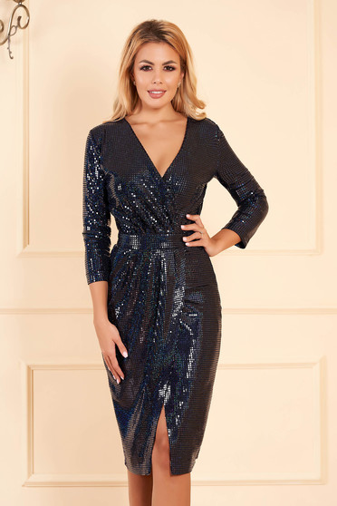 Dress StarShinerS darkblue occasional with sequins with tented cut wrap around midi with v-neckline