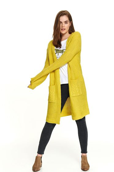 Yellow sweater casual cardigan with front pockets knitted long sleeved